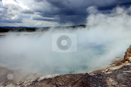 Storm rolling over the Grand Springs in Yellowstone National Par stock photo, Storm rolling over the Grand Springs in Yellowstone National Park by Sharron Schiefelbein