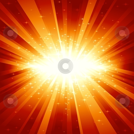 Red golden light burst with stars stock vector clipart, Festive explosion (centered) of light and stars from white to golden to dark red. 7 global colors, light rays controlled by 1 linear gradient. by Ina Wendrock