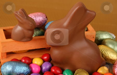 Easter Eggs stock photo, Various colors and shaped easter eggs and bunnies by Vanessa Van Rensburg