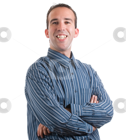 Smiling Man stock photo, A happy man is smiling and looking at the camera, isolated against a white background by Richard Nelson
