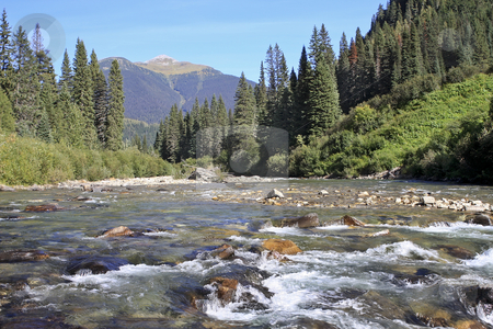 River and Mountains stock photo, BC River with crystal clear water in BC Canada by Sharron Schiefelbein