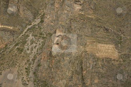 Rock face of Inca God in Ollantaytambo ruins stock photo, A Rock face of Inca God in Ollantaytambo ruins near Machu Picchu, Peru, South America by Sharron Schiefelbein