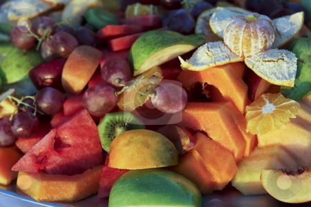 Fruit in Ecuadorian evening light stock photo, A plate of fruit in Ecuadorian evening light by Sharron Schiefelbein
