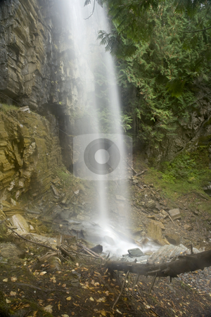 Bottom of Waterfall stock photo, A beautiful Waterfall surrounds by a forest by Sharron Schiefelbein