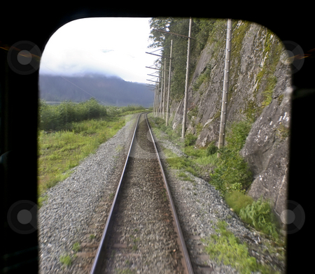 Veiw from the rear of a train stock photo, Veiw from the rear of a train by Sharron Schiefelbein