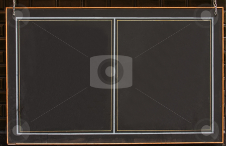 Blackboard stock photo, Hanging blackboard with orange frame. by Gabriele Mesaglio