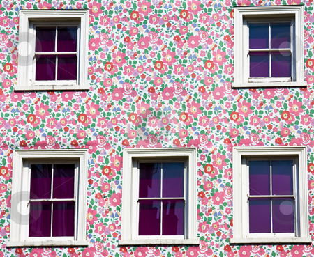 Wall and windows: pink, purple and flowers! stock photo, Five windows and a flower colored wall. Predominant colors: violet, magenta and pink by Gabriele Mesaglio