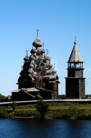 Transfiguration Church stock photo, Russia, Karelia Republic, Lake Onega, Kizhi Island, Kizhi Open Air Museum, Transfiguration Church and Bell Tower by David Ryan