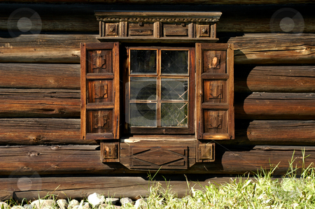 Window stock photo, Russia, Karelia Republic, Lake Onega, Kizhi Island, Kizhi Open Air Museum, Typical log cabin of Karelia, window by David Ryan