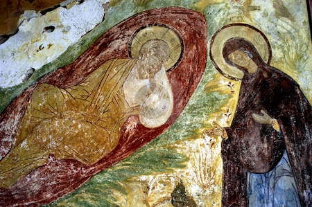 Monastery of the Resurrection stock photo, Russia, Goritzy, Monastery of the Resurrection, (founded by Saint Cyril in 1397), mural over entrance (Vologda Oblast) by David Ryan