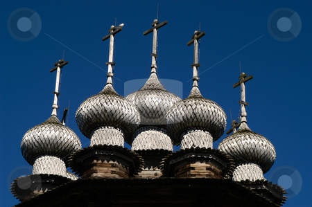 Intercession Church stock photo, Russia, Karelia Republic, Lake Onega, Kizhi Island, Kizhi Open Air Museum, Domes of the Intercession Church by David Ryan