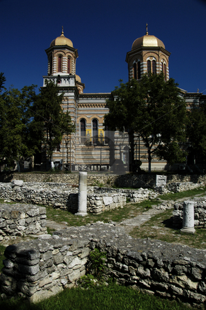 Ruins of Tomis stock photo, Romania, Bucharest, Constanta, Cathedral of Saints Peter and Paul (Orthodox, 1895), ruins of the ancient city of Tomis in foreground by David Ryan