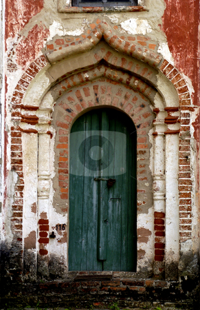 Monastery of the Resurrection stock photo, Russia, Goritzy, Monastery of the Resurrection, (founded by Saint Cyril in 1397), Door showing some restoration work (Vologda Oblast) by David Ryan