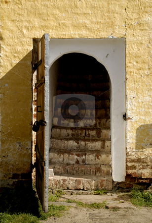 Monastery of the Resurrection stock photo, Russia, Goritzy, (Vologda Oblast) Monastery of the Resurrection, door to the cells (founded by Saint Cyril in 1397) by David Ryan