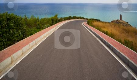 Road to the sea stock photo, Road to the sea in Castellon, Spain by Bernardo Varela