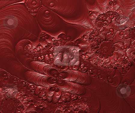 Floral structure stock photo, Abstract floral structure in red - 3d illustration by J?