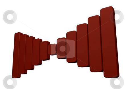 Acoustics stock photo, Red bars symbol on white background - 3d illustration by J?