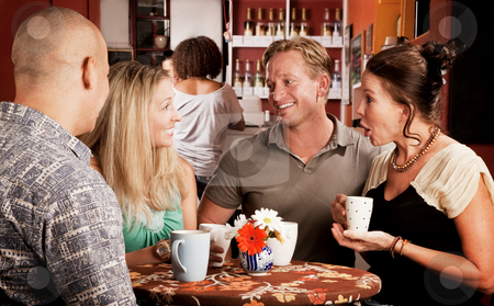 Coffee House Friends stock photo, Four adult friends meeting in a coffee house by Scott Griessel