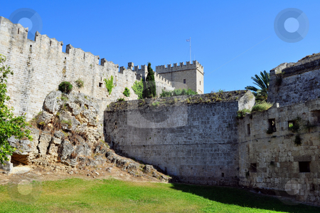 Medieval fortress of Rhodes. stock photo, Old town: ancient Rhodes fortress, island of Rhodes, Greece by Fernando Barozza