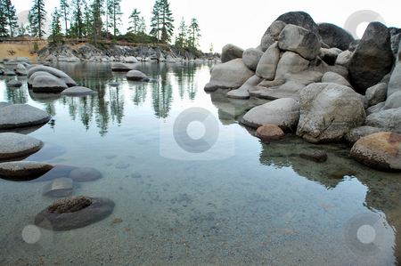 Lake Tahoe, Sand Harbor stock photo, Small bay at Lake Tahoe with rounded granite boulders in the crystal clear water by Lynn Bendickson