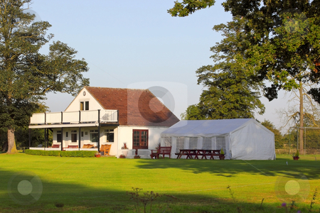 Cricket clubhouse stock photo, A rural cricket clubhouse in england by Mike Smith