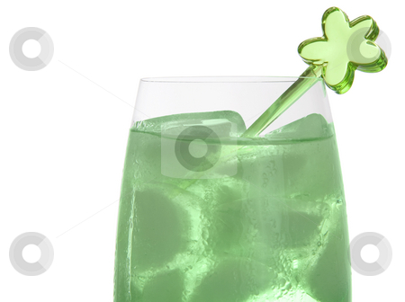 Colorful party drink with decoration stock photo, Bright green drink in a tall champagne glass with a green plastic decoration by Daniel Kafer