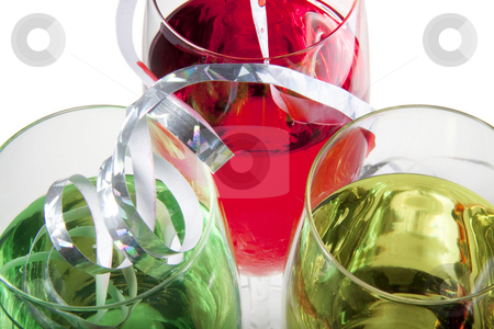 Close up of party drinks stock photo, Three solorful cocktails for a party or celebration served in a champagne glass by Daniel Kafer