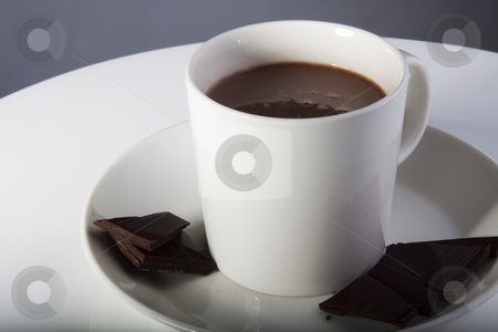 Hot chocolate stock photo, Hot chocolate in a white cup with peices of dark deluxe chocolate on the side by Daniel Kafer