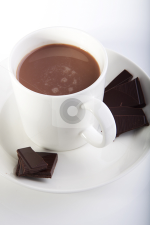 High quality hot chocolate stock photo, Hot chocolate in a white cup with peices of dark deluxe chocolate on the side by Daniel Kafer