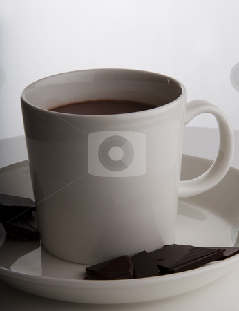 Hot chocolate in designer cup stock photo, Hot chocolate in a white cup with peices of dark deluxe chocolate on the side by Daniel Kafer