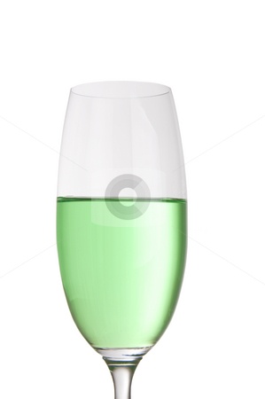 Colorful party drink stock photo, Bright green drink in a tall champagne glass by Daniel Kafer