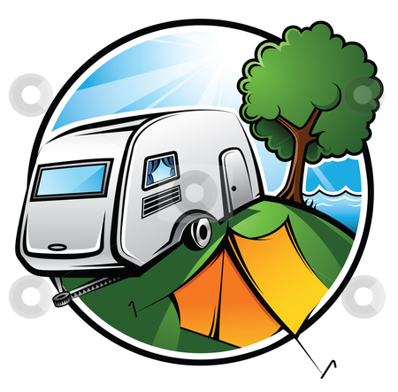 Camping Area stock vector clipart, An idyllic camping area with a caravan, a tent and a tree on a sunny day by Thomas Amby Johansen