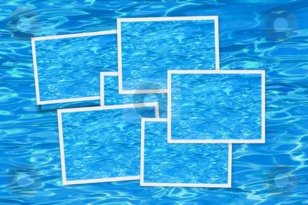 Water blue background snapshots stock photo, Picture frames over a blue pool background by Laurent Dambies