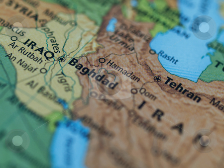 Iraq Iran map stock photo, Map of Iraq Iran area with selective focus on Baghdad Iraq by Laurent Dambies