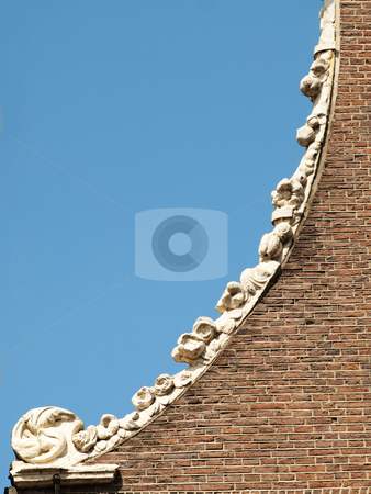 Dutch architecture stock photo, Detail of a Dutch house rooftop in the city of Amsterdam by Laurent Dambies