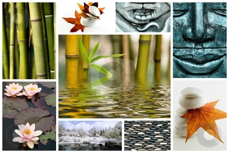 Zen like picture collage stock photo, Collage of several zen picture with bamboo stone leaves and flowers by Laurent Dambies