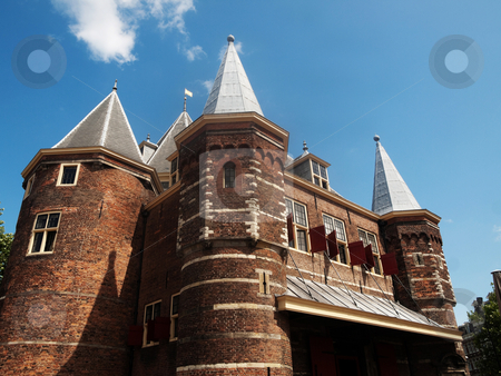 Dutch architecture stock photo, Typical dutch architecture under blue sky with clouds by Laurent Dambies