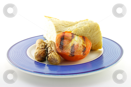 Cooked Breakfast Items on a Plate stock photo, Delicious cooked breakfast items with baguette and char-grilled tomato on a plate on a white background by Keith Wilson