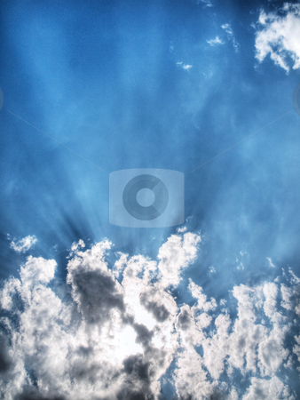 Dramatic sky stock photo, Ray of light coming through cloudy sky hdr processed by Laurent Dambies