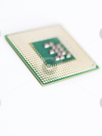 CPU macro stock photo, Macro of a computer central processing unit  on white background by Laurent Dambies