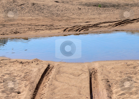 Water Puddle stock photo, Jeep tracks in red sand going through a water puddle by Neel Breitenbach
