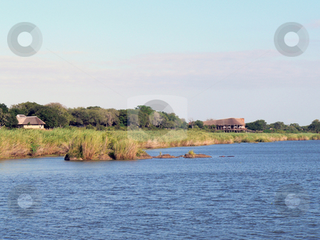 African River Lodge stock photo, African Lodge on the mighty Zambezi River by Neel Breitenbach