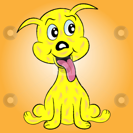 Cute puppy dog cartoon character with tongue sticking out by toots77