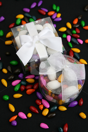Wedding Favors stock photo, Small plastic Wedding favor boxes with mints and sweets by Vanessa Van Rensburg