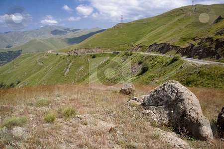 Mountain route in Armenia stock photo, Route to Meghri passing in Armenia. Summer day. by Tomasz Parys
