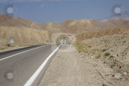 Straight route in Iran stock photo, Straight mountain route in Iran. Summer day - Desert by Tomasz Parys
