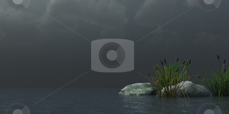 Reed stock photo, Reed and stones on water under dark sky - 3d illustration by J?