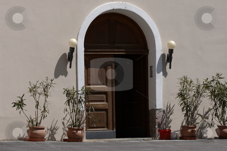 Entrance Door stock photo, Old wooden entrance door awaiting guests, mediterranean style by Andre Janssen