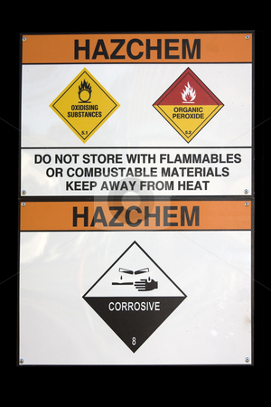 Hazchem sign stock photo, Hazchem sign for hazardous substance storage area with corrosives, and oxidising agents by Darren Pattterson