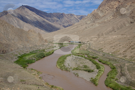 Iran border stock photo, Aras river on the border Iran and Azerbaijan. Mountain view. by Tomasz Parys